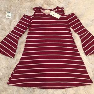 Other - Girls cold shoulder stripe dress
